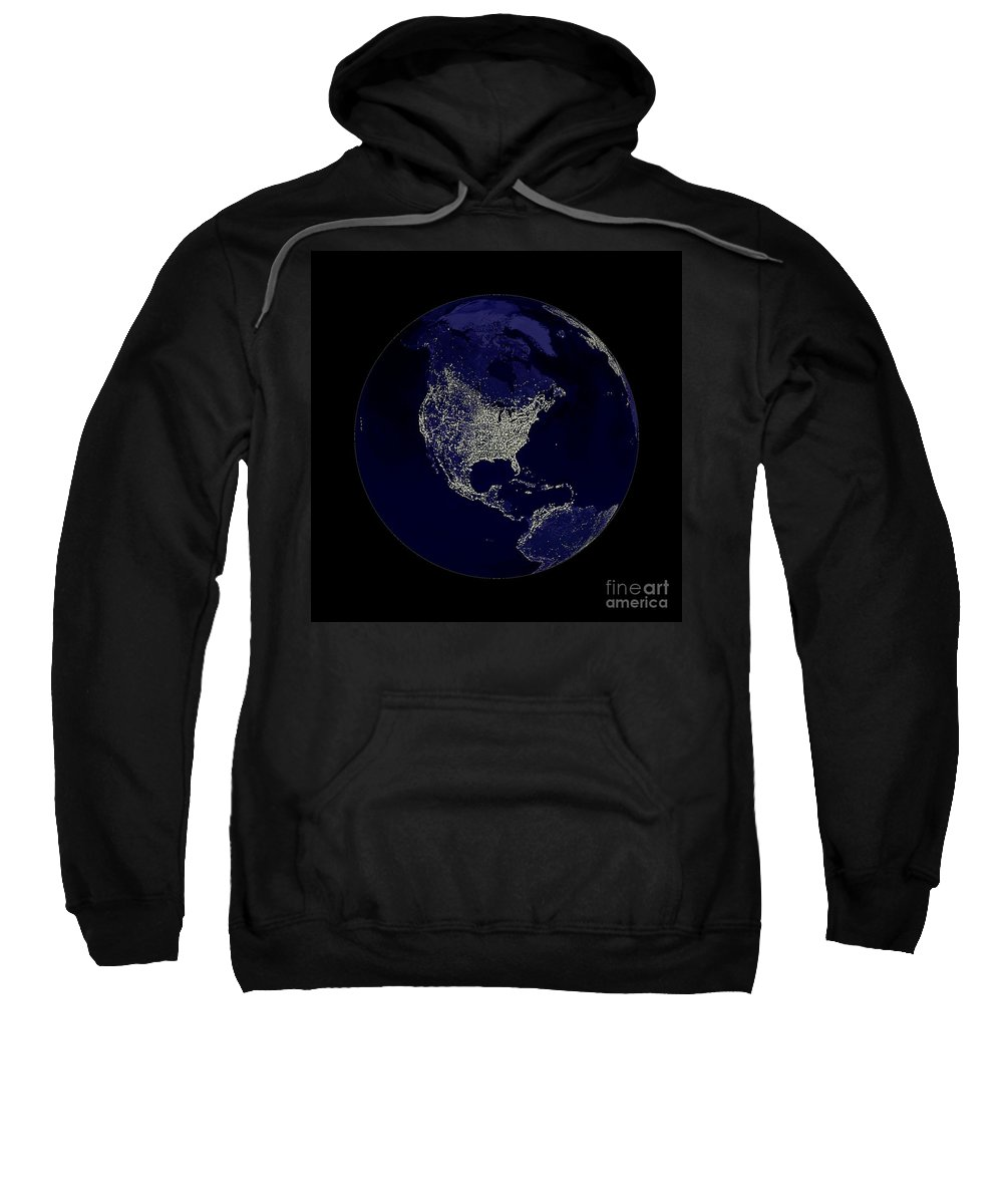 World Sweatshirt featuring the digital art Earth Globe Lights by Henrik Lehnerer