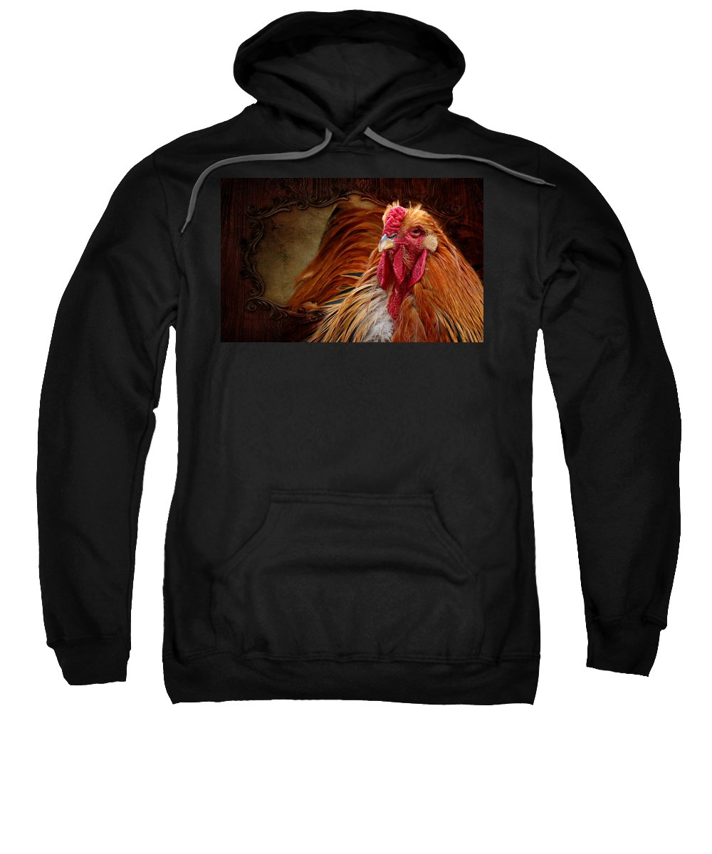 Cock Sweatshirt featuring the mixed media Easter Cock by Heike Hultsch