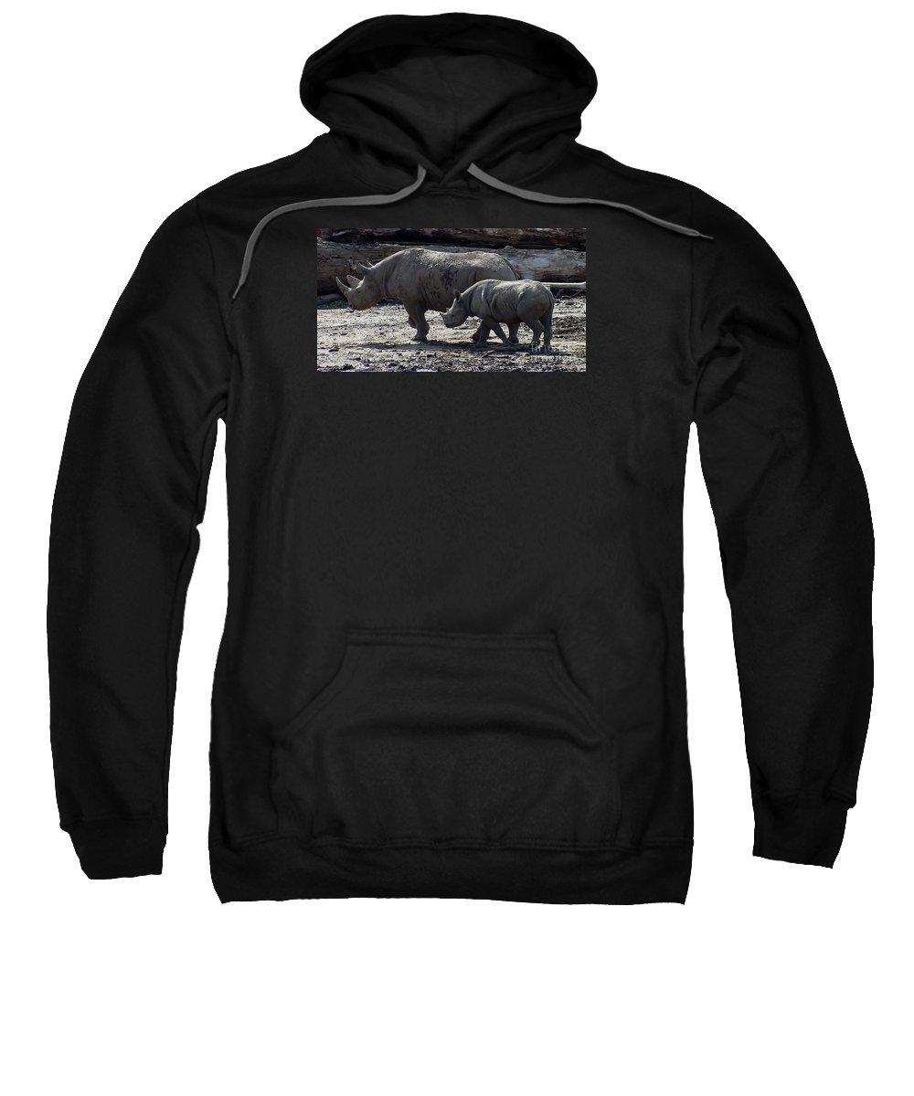 Rhino Sweatshirt featuring the photograph Eastern Black Rhinos Mama N Baby by Gary Gingrich Galleries