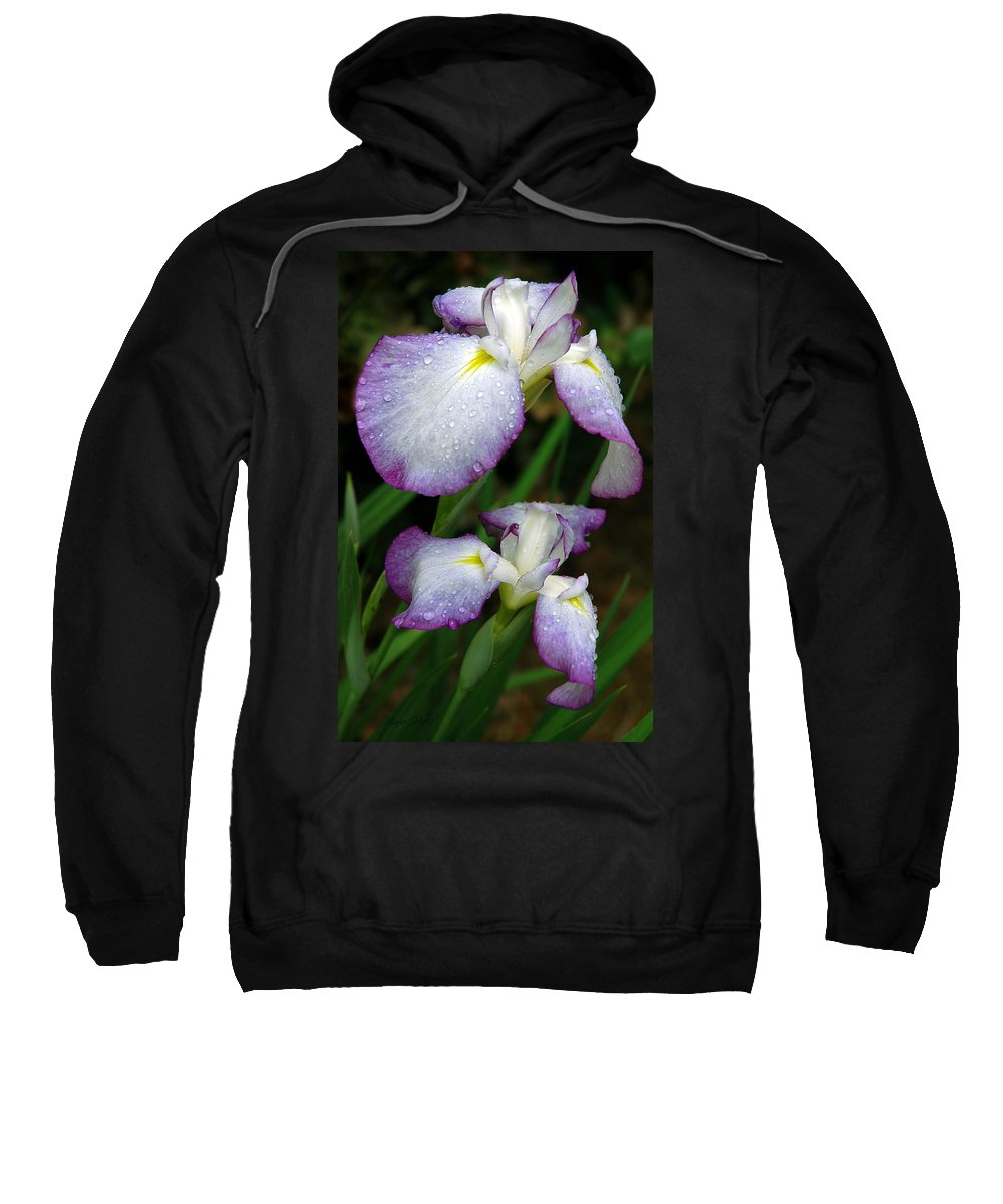 Iris Sweatshirt featuring the photograph Elegant Purple Iris by Marie Hicks