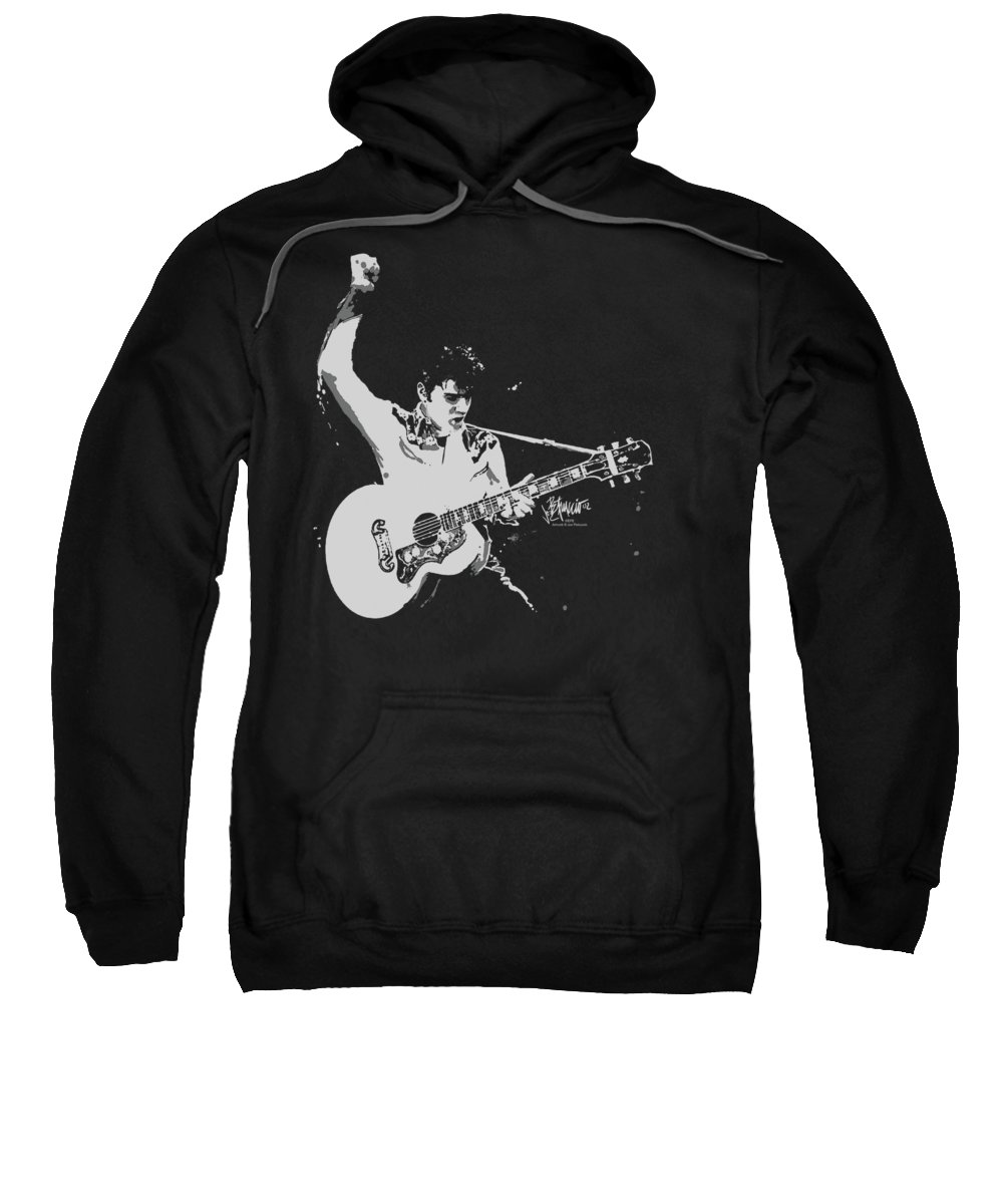 Elvis Sweatshirt featuring the digital art Elvis - Blackandwhite Guitarman by Brand A