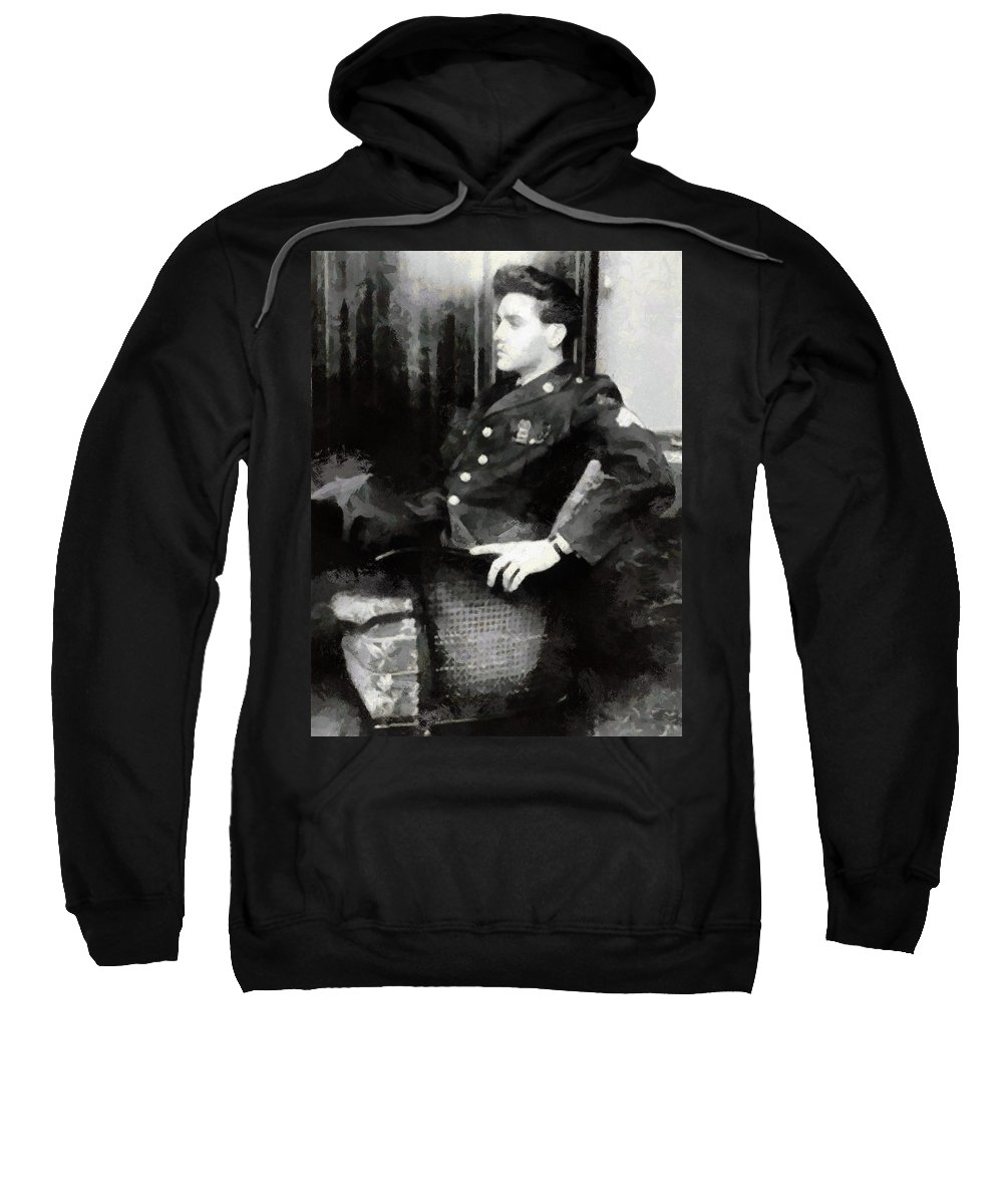 Elvis Sweatshirt featuring the photograph Elvis In Uniform by Paulette B Wright