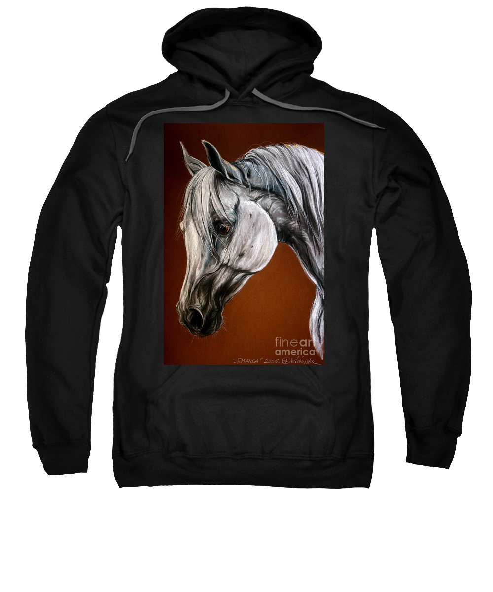 Arabian Sweatshirt featuring the drawing Emanda by Angel Ciesniarska