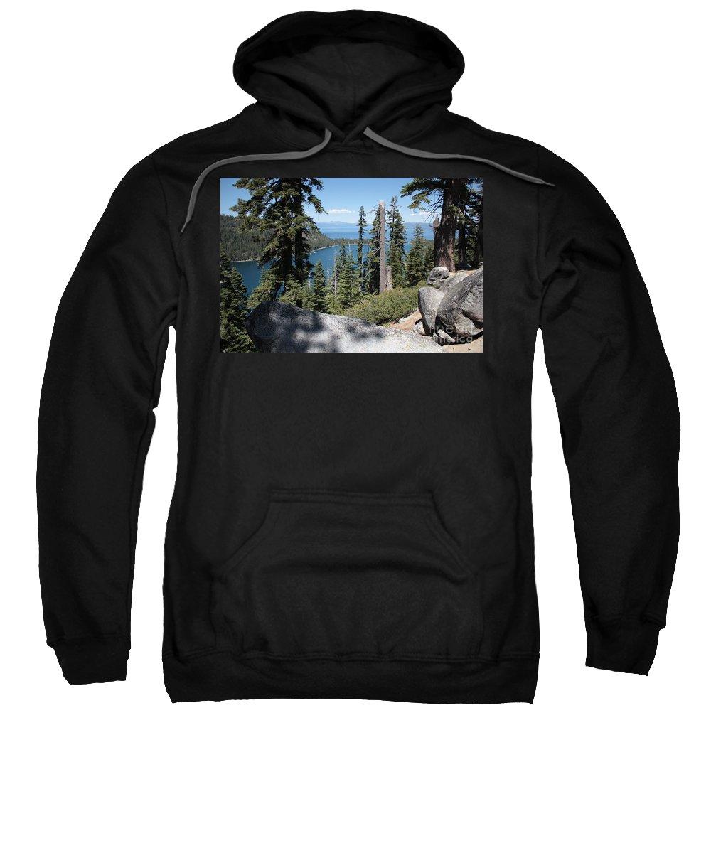 Emerald Bay Sweatshirt featuring the photograph Emerald Bay Vista by Carol Groenen