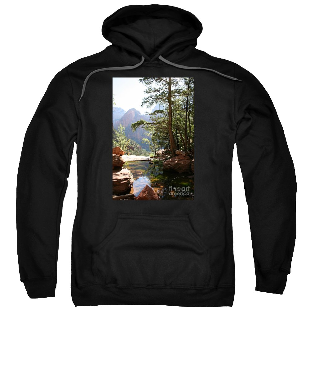 Mountians Sweatshirt featuring the photograph Emerald Pool - Zion Np by Christiane Schulze Art And Photography