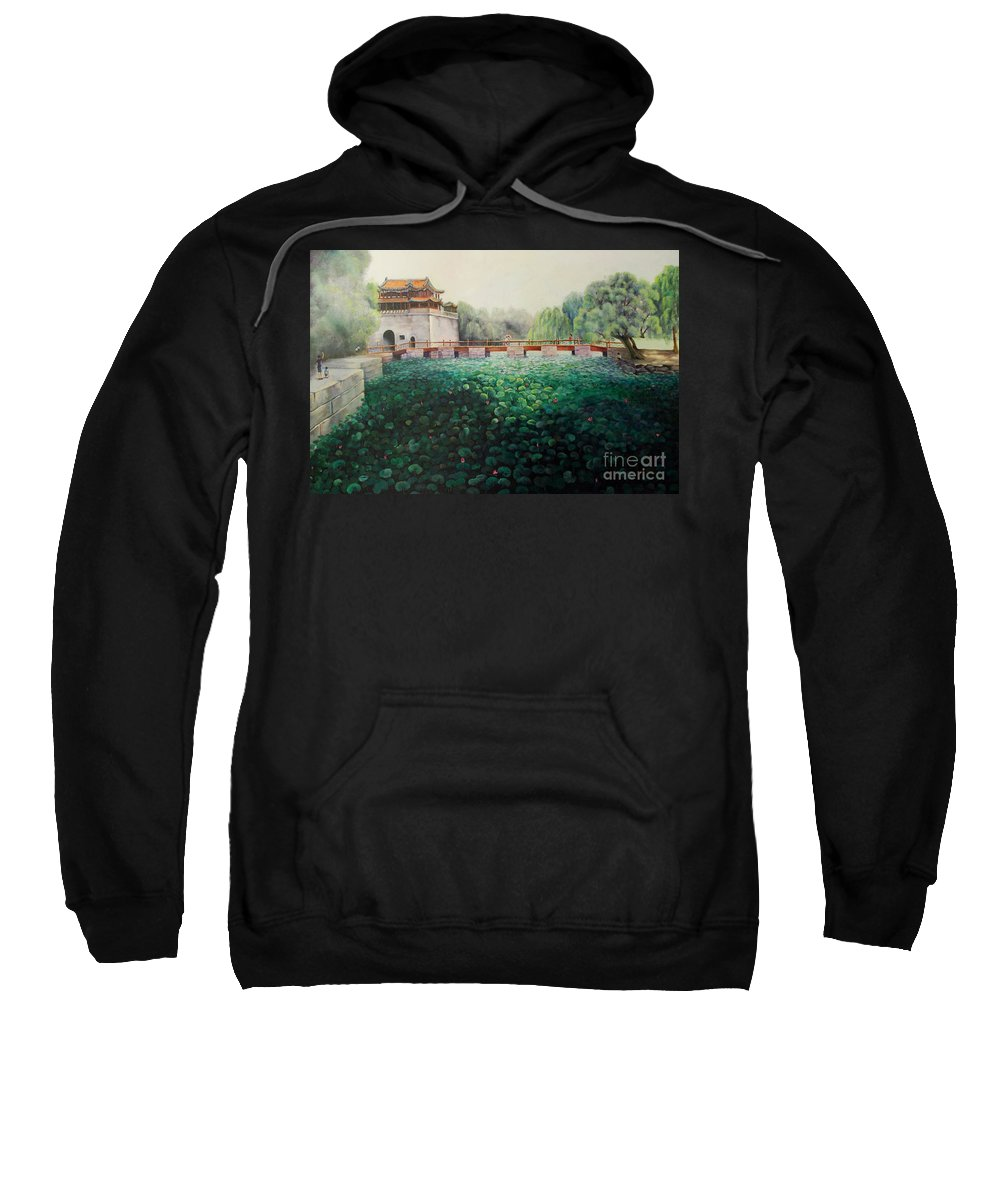 Landscape Sweatshirt featuring the painting Emperor's Summer Palace by Marlene Book