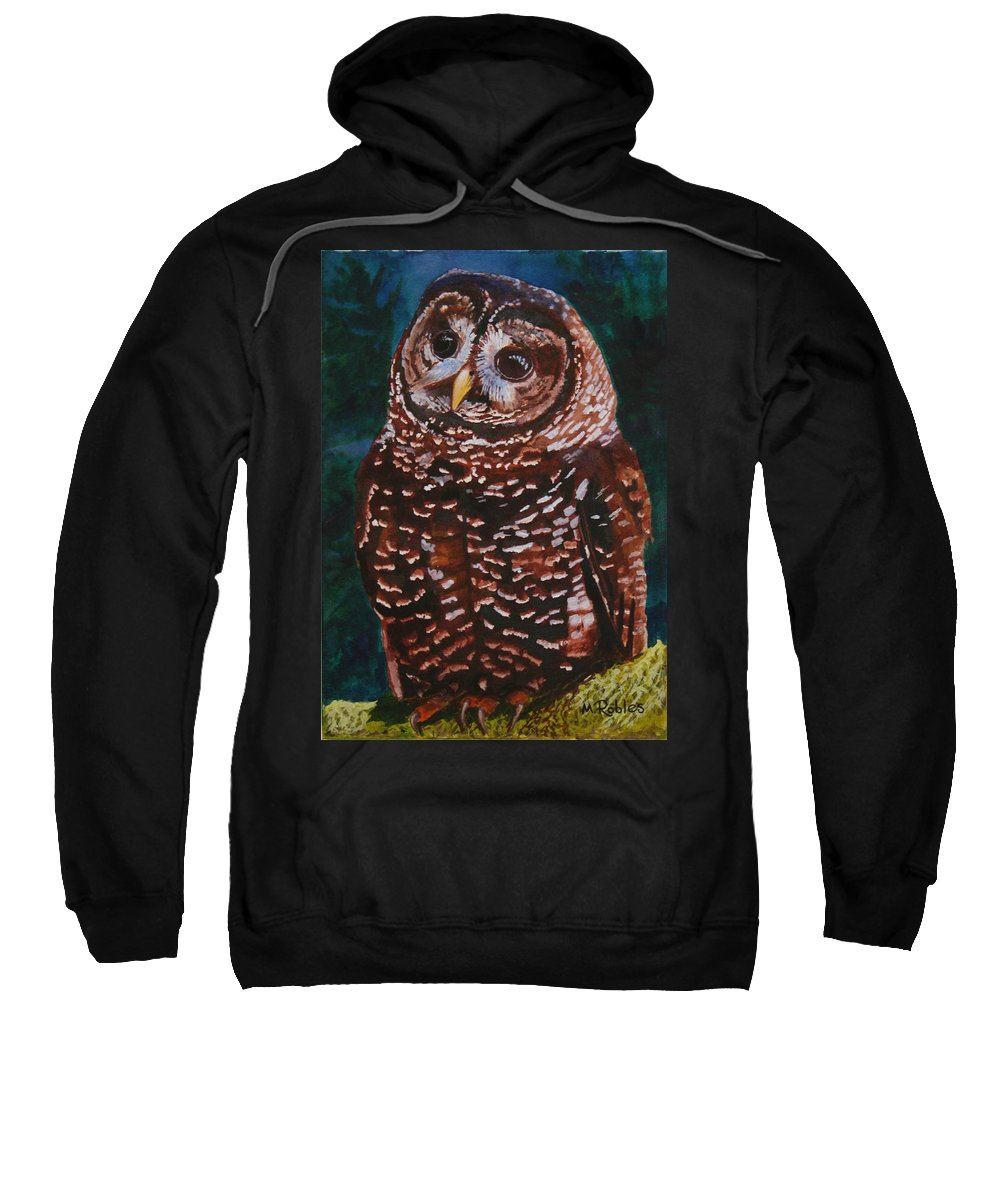 Birds Sweatshirt featuring the painting Endangered - Spotted Owl by Mike Robles