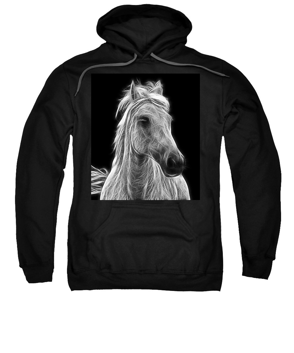 Horse Sweatshirt featuring the photograph Energetic White Horse by Joachim G Pinkawa