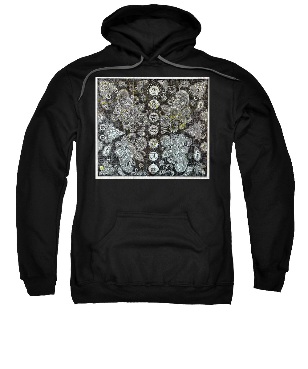 Chakras Sweatshirt featuring the drawing Energy Follows Intention by John Parish
