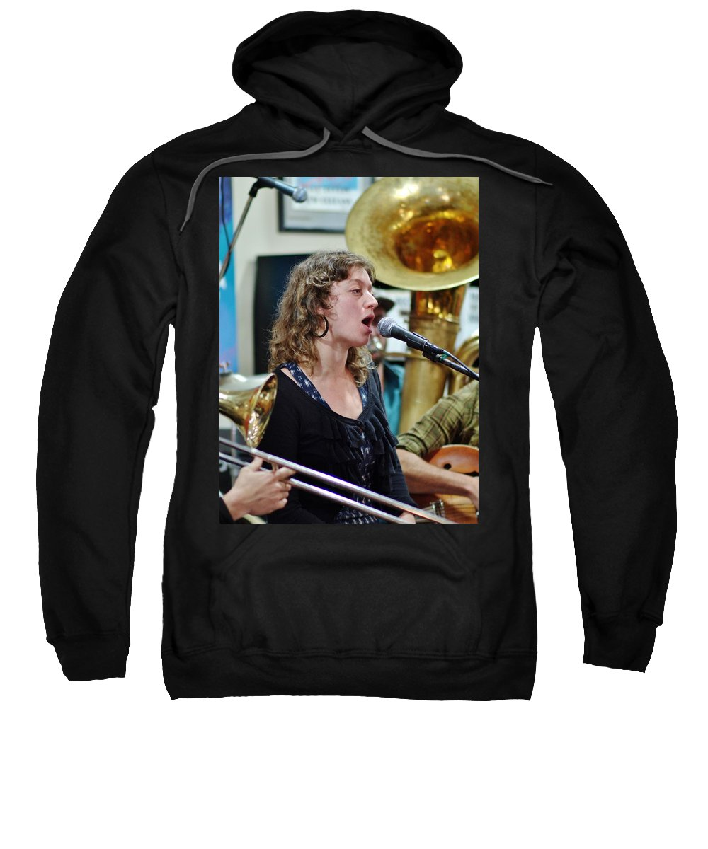 Jazz Sweatshirt featuring the photograph Erika Lewis With Tuba Skinny by William Morgan