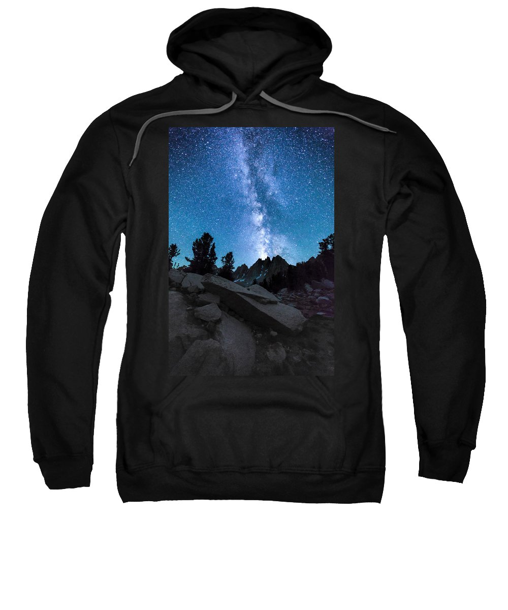 Kearsarge Lakes Sweatshirt featuring the photograph Eruption Of The Milky Way by Larry Pollock