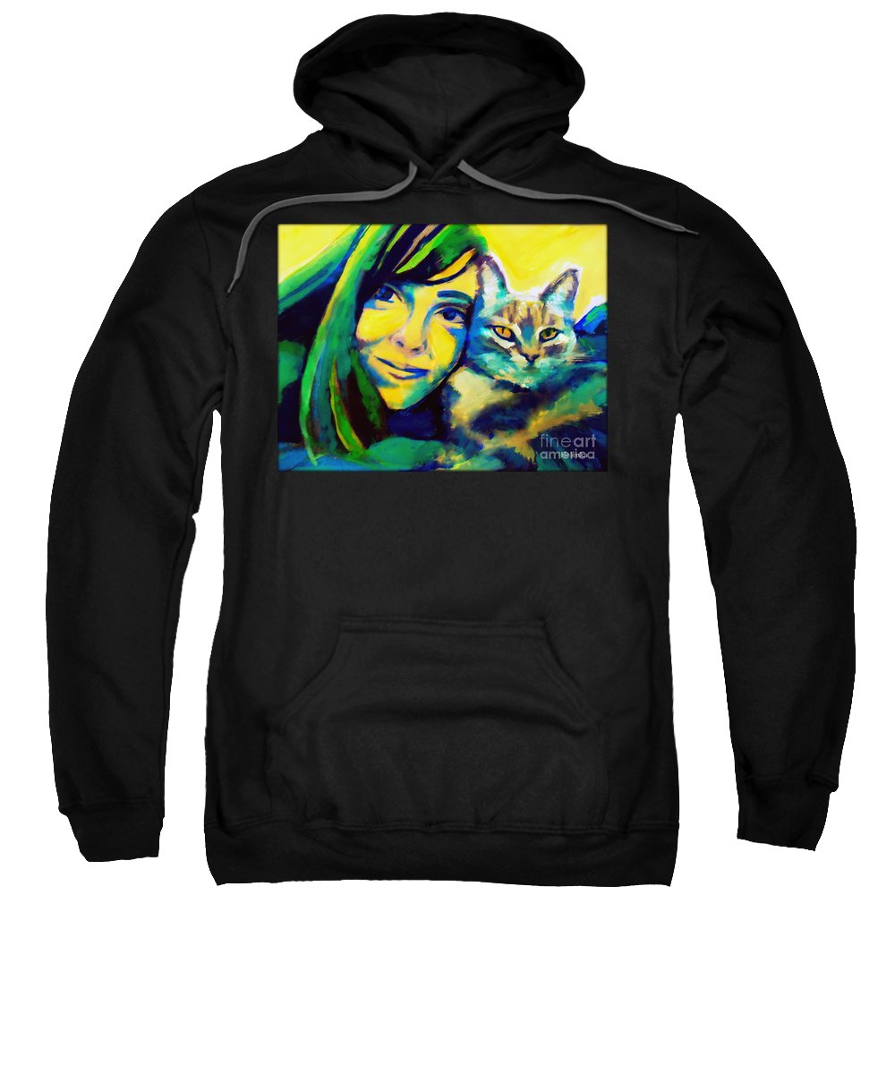 Contemporary Art Sweatshirt featuring the painting Evangelina And The Cat by Helena Wierzbicki