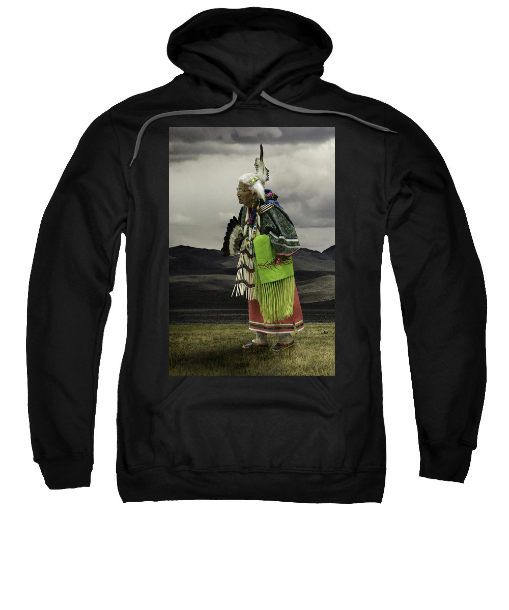 Native American Sweatshirt featuring the photograph Evelyn In Color by Karen W Meyer