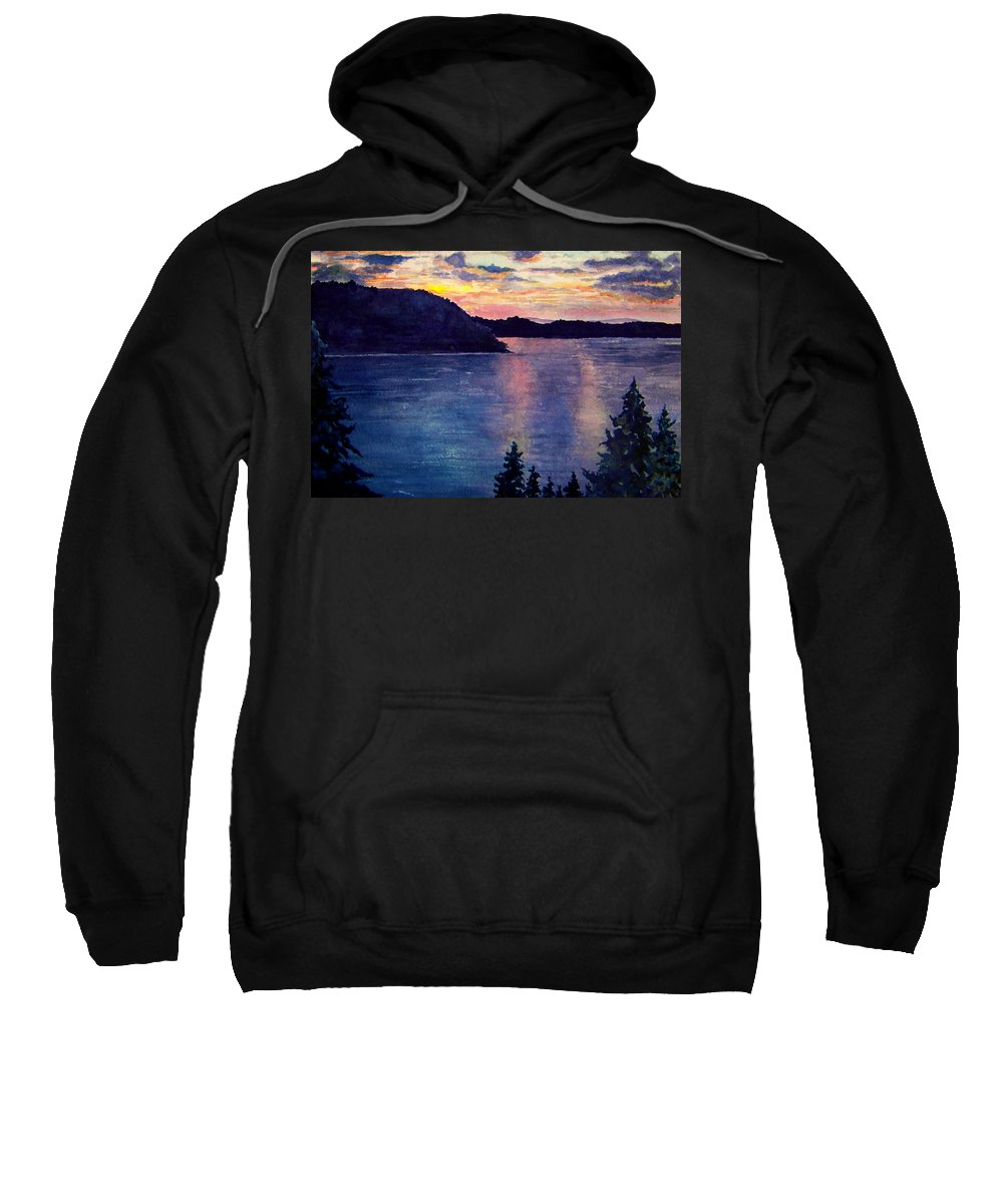 Sunset Sweatshirt featuring the painting Evening Song by Brenda Owen