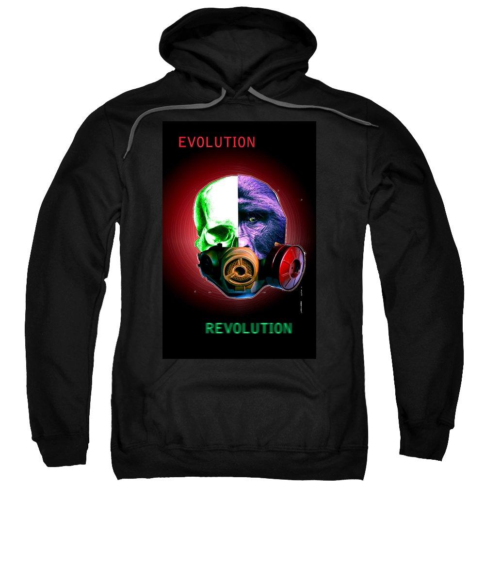 Sweatshirt featuring the digital art Evo-revo by Dan Sheldon
