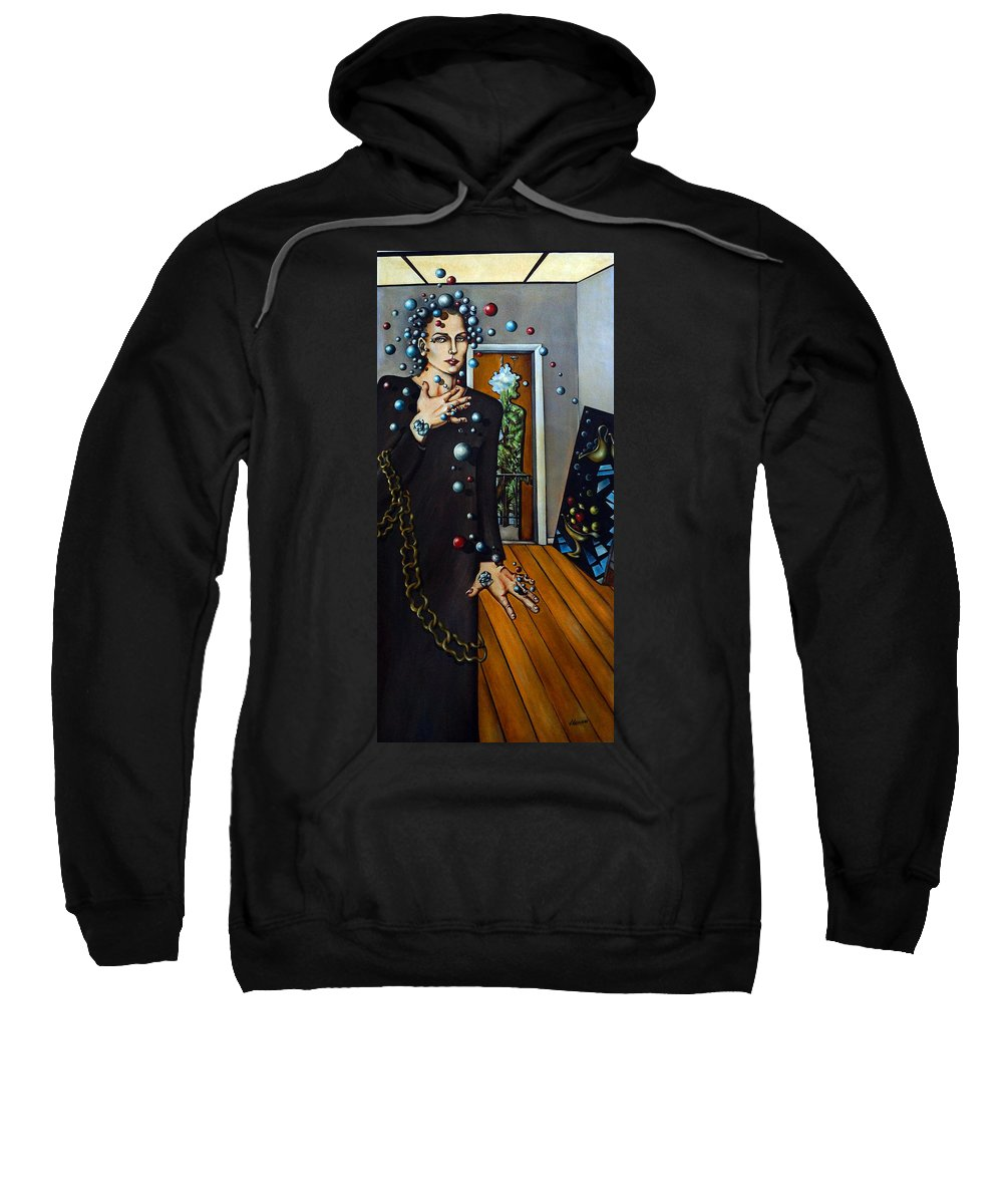 Surreal Sweatshirt featuring the painting Existential Thought by Valerie Vescovi