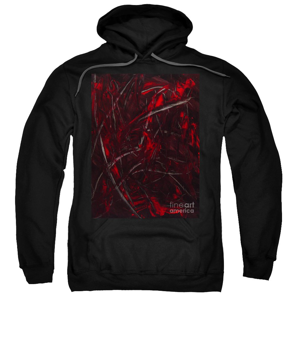 Abstract Sweatshirt featuring the painting Expectations Red by Dean Triolo