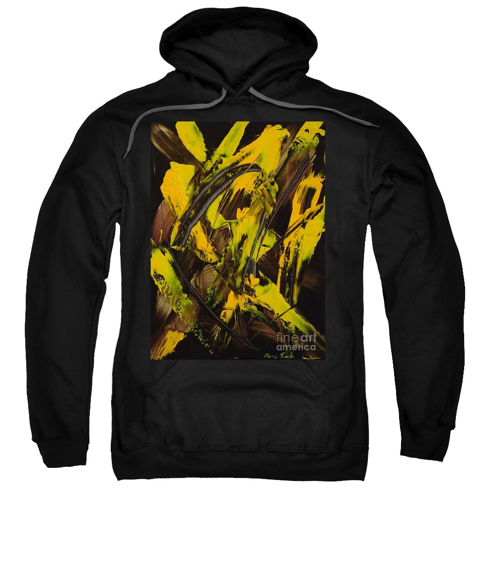 Abstract Sweatshirt featuring the painting Expectations Yellow by Dean Triolo