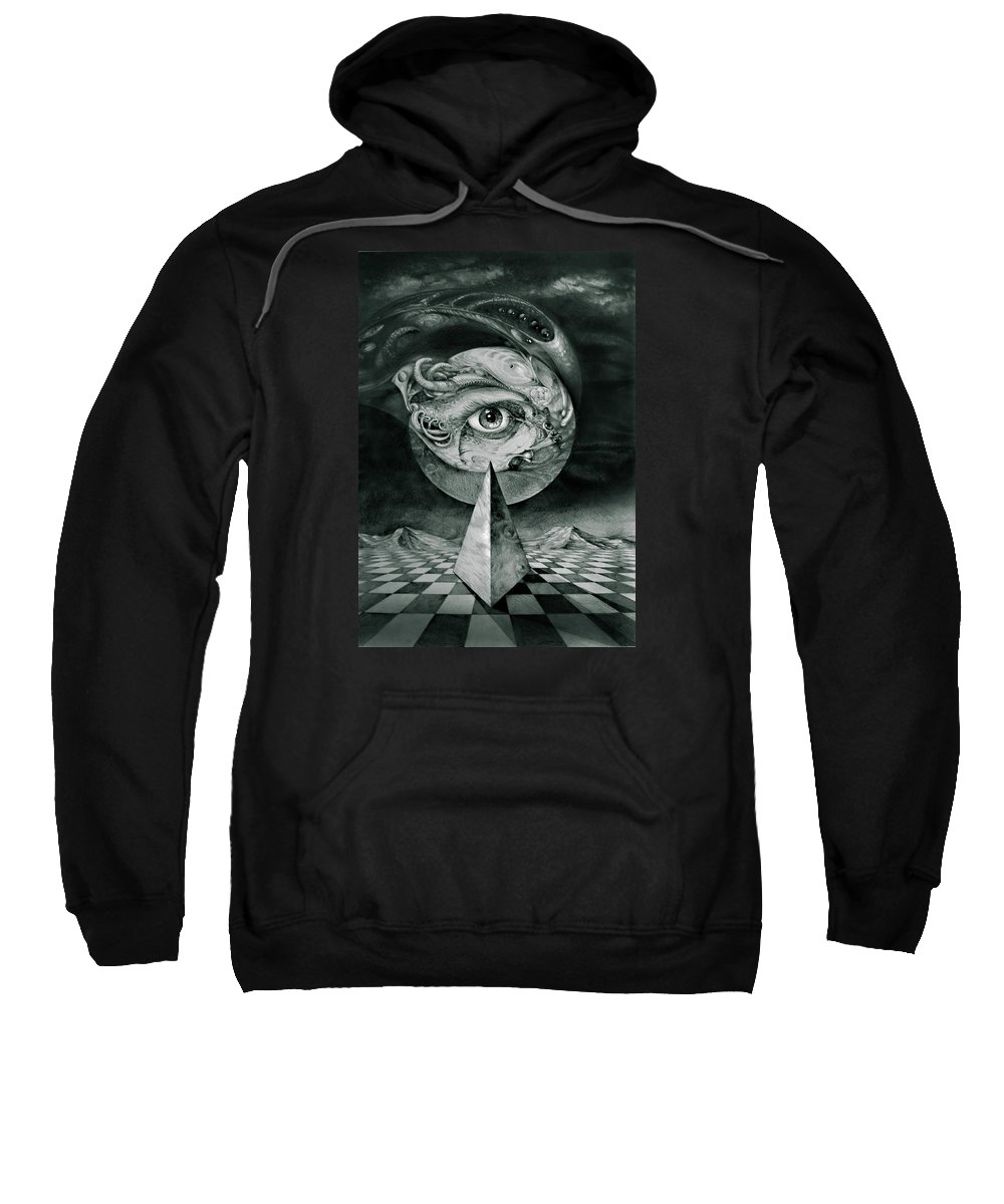 otto Rapp Surrealism Sweatshirt featuring the drawing Eye Of The Dark Star by Otto Rapp