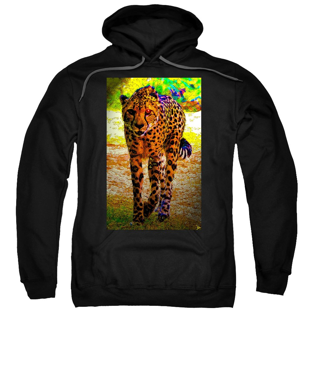 Huntress Sweatshirt featuring the painting Eye Of The Huntress by David Lee Thompson