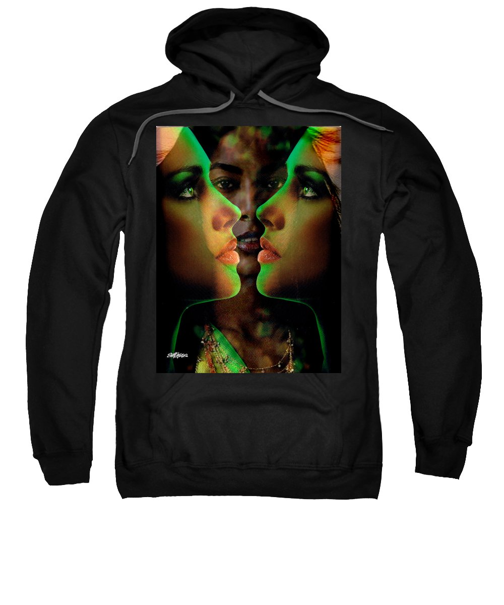 Women Sweatshirt featuring the digital art Face 2 Face by Seth Weaver