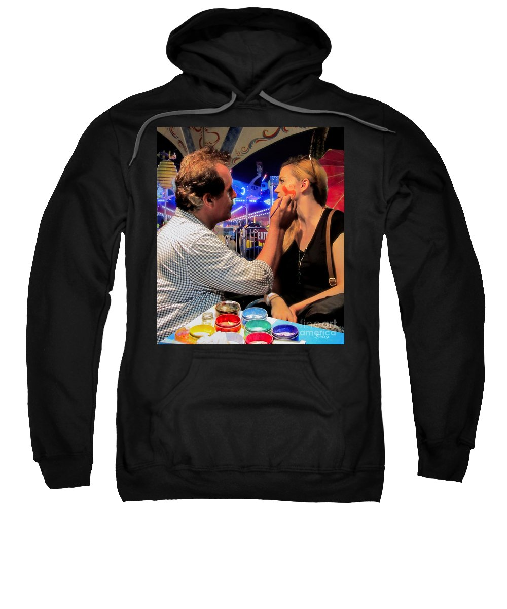 Face Sweatshirt featuring the photograph Face Painting At The Fair by Jennie Breeze