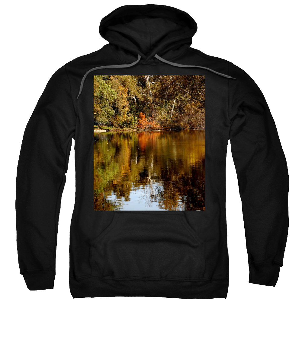 Fall Colors Leaves Water One Mile Park Bidwell Chico Ca Sweatshirt featuring the photograph Fall Reflections by Holly Blunkall