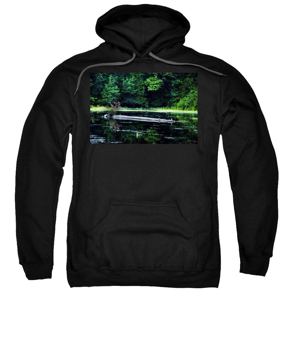 Fallen Sweatshirt featuring the photograph Fallen Log In A Lake by Bill Cannon