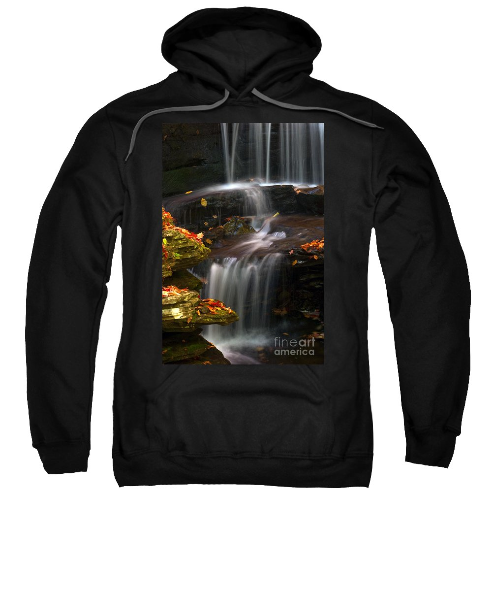 Ricketts Glen Sweatshirt featuring the photograph Falls And Fall Leaves by Paul W Faust - Impressions of Light