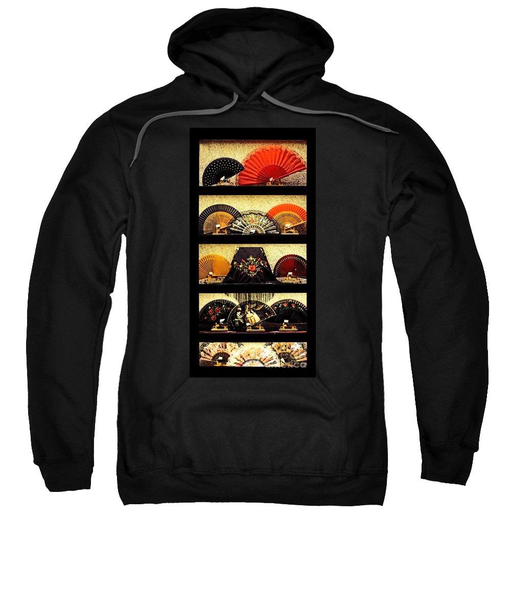 Fans In A Shop Window Sweatshirt featuring the photograph Fans In A Shop Window by Mary Machare