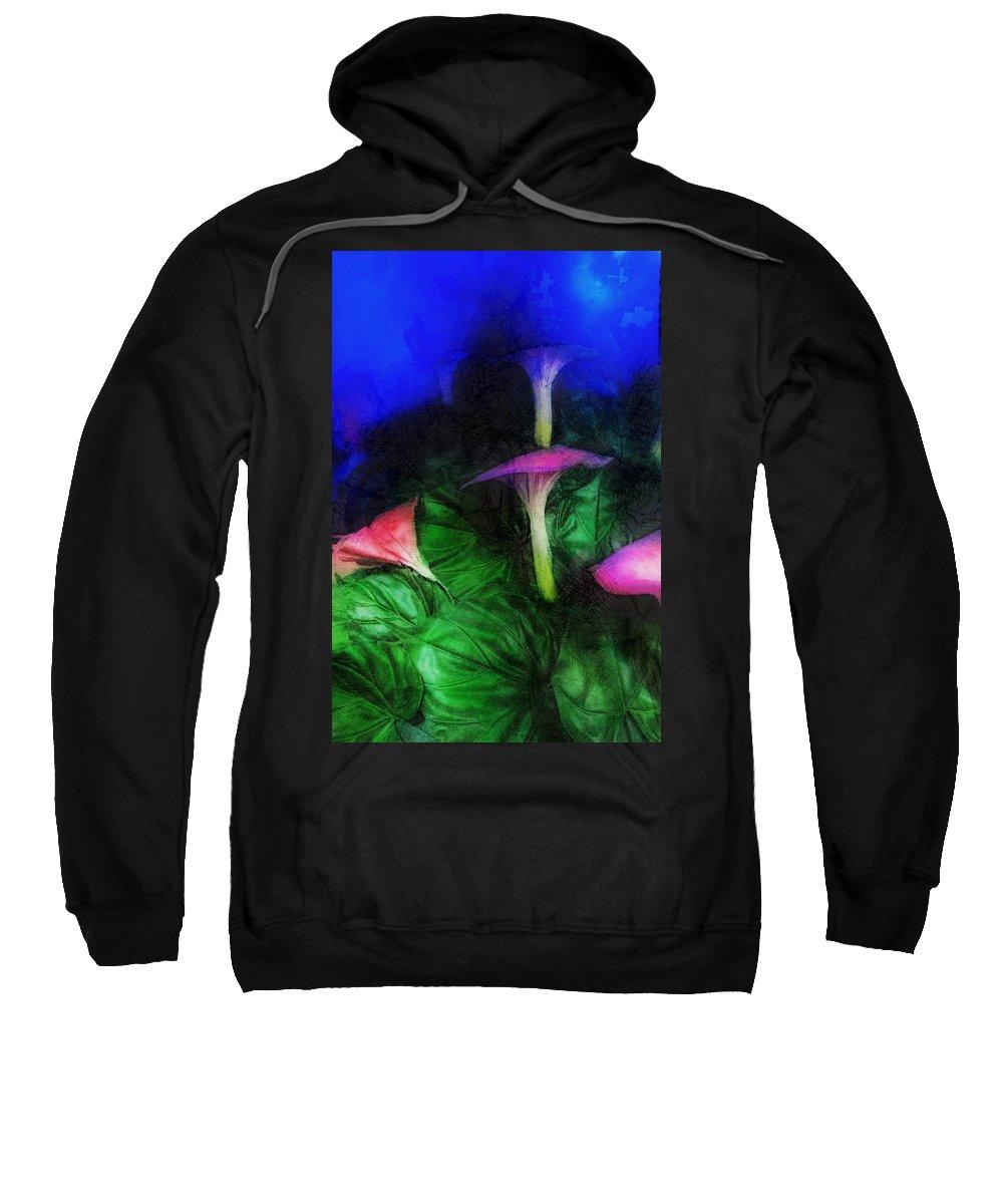 Asia Sweatshirt featuring the digital art Fantasy Flowers Lux by David Lange