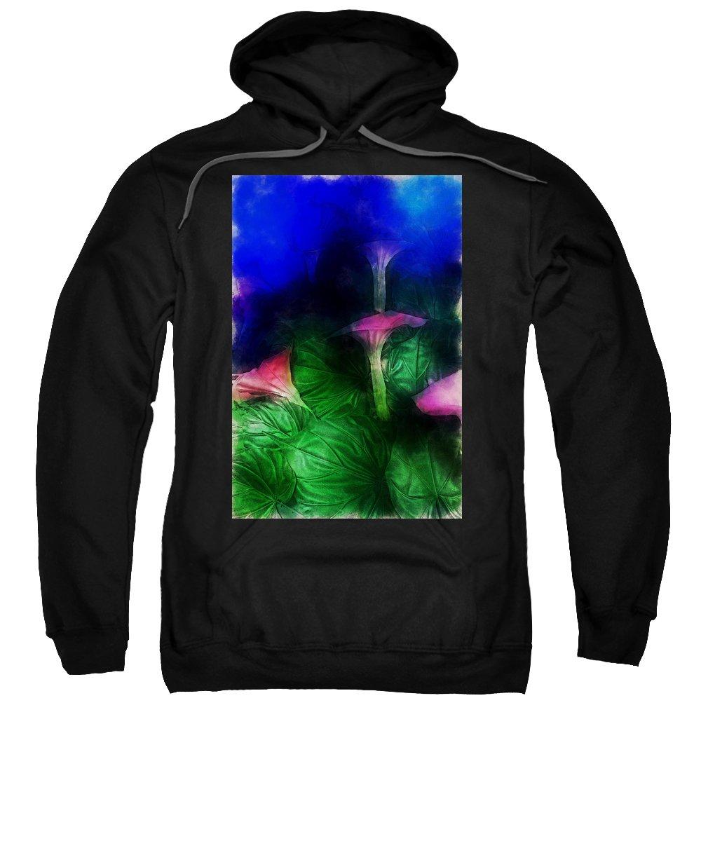 Asia Sweatshirt featuring the digital art Fantasy Flowers Traveling Pigments Hp by David Lange