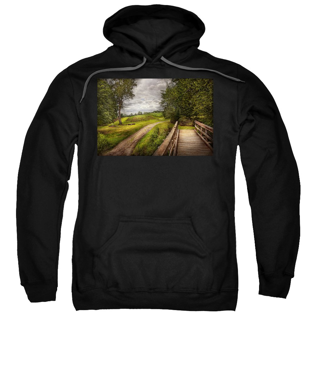 Savad Sweatshirt featuring the photograph Farm - Landscape - Jersey Crops by Mike Savad
