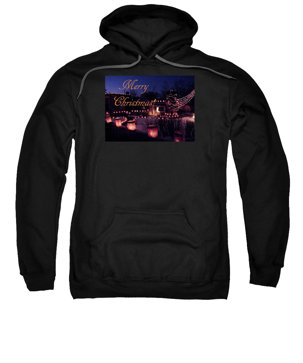 Farolitos Sweatshirt featuring the photograph Farolitos Or Luminaria On Wall 2-2 by Tamara Kulish