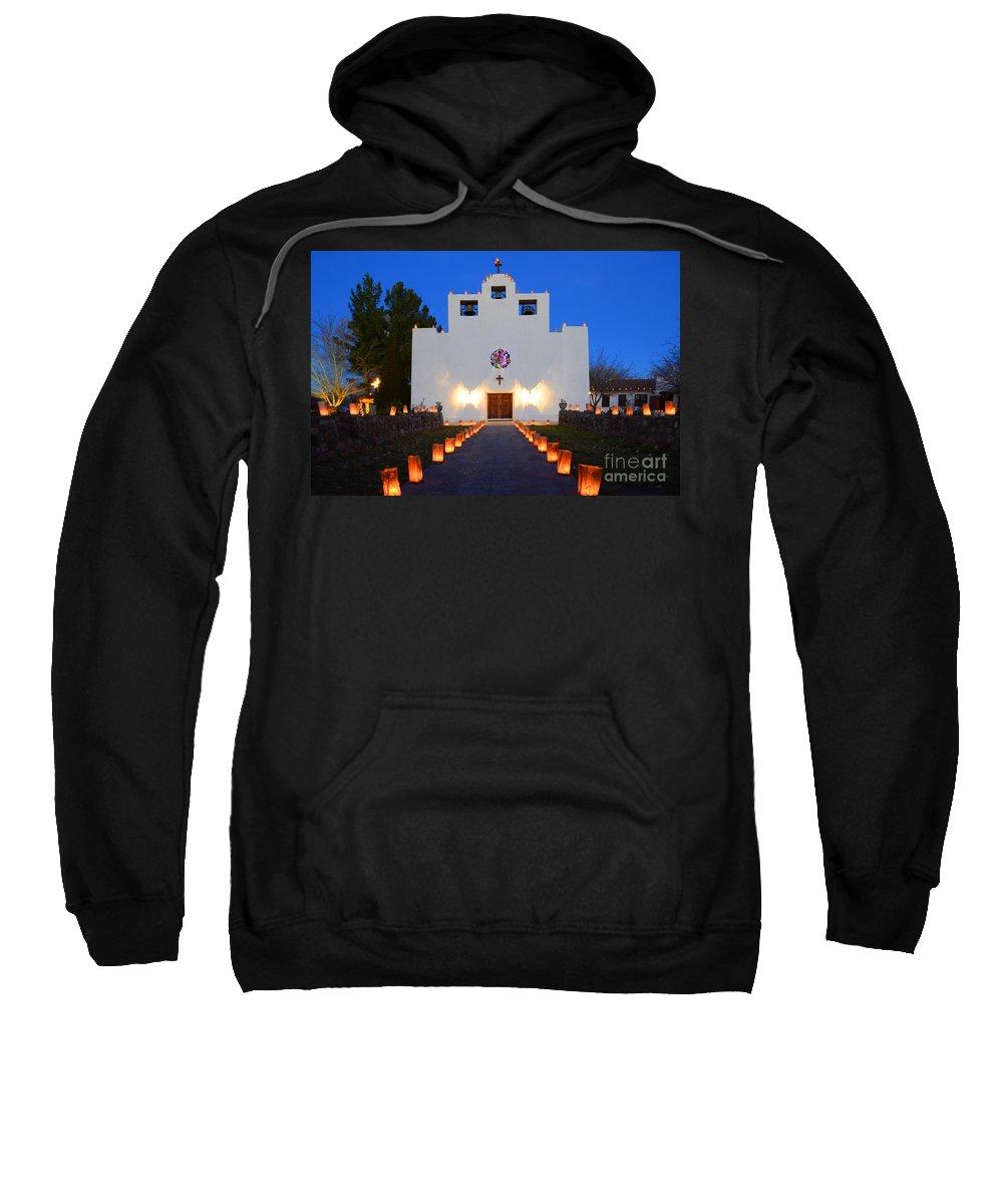 Saint Francis De Paula Mission Sweatshirt featuring the photograph Farolitos Saint Francis De Paula Mission by Bob Christopher