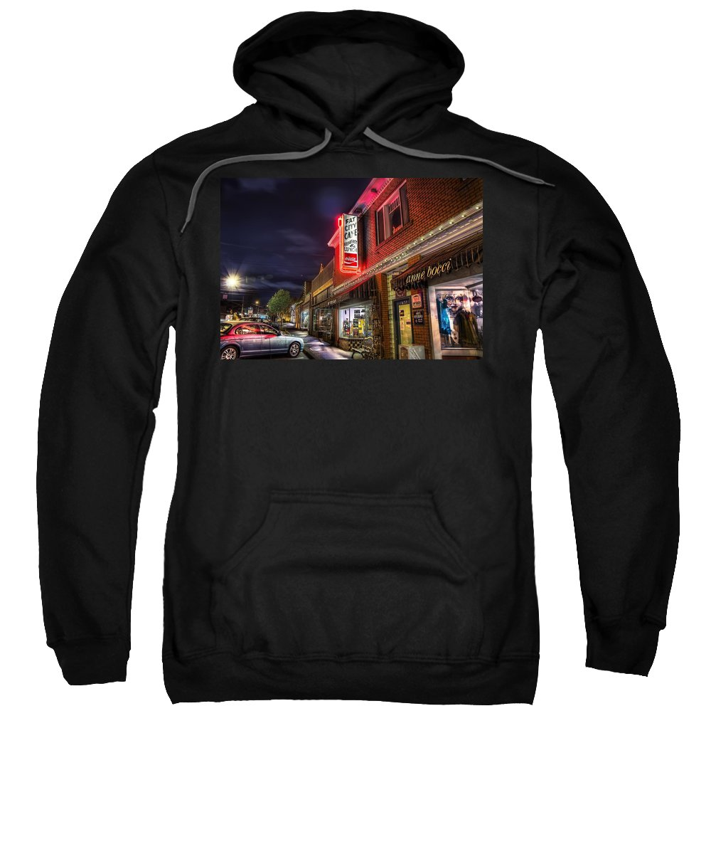 Fat Sweatshirt featuring the photograph Fat City Cafe by Doc Braham