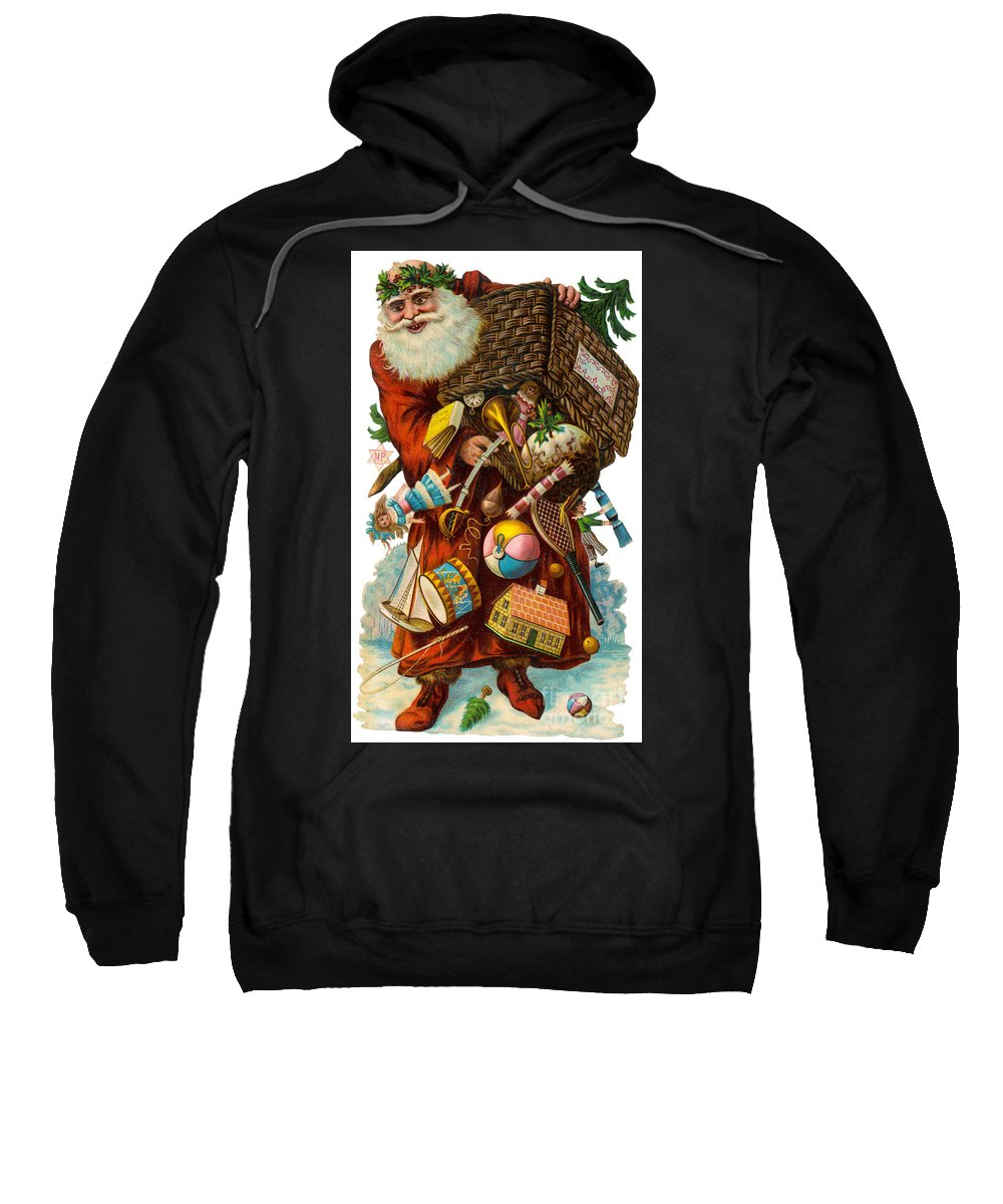 History Sweatshirt featuring the photograph Father Christmas With Presents by Mary Evans