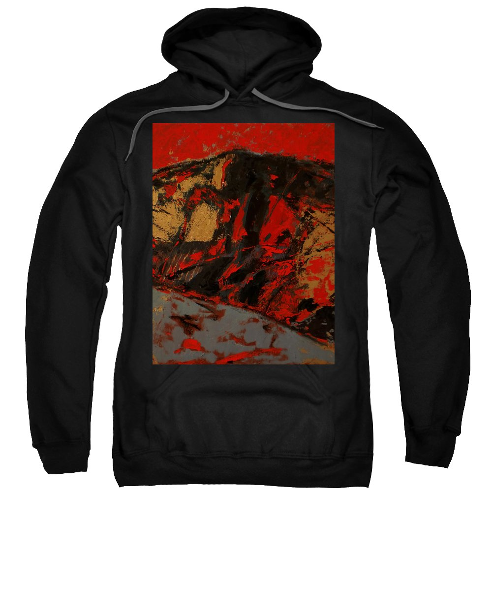 Landscape Sweatshirt featuring the painting Feng Shui - Gold Mountain by Vladimir Vlahovic