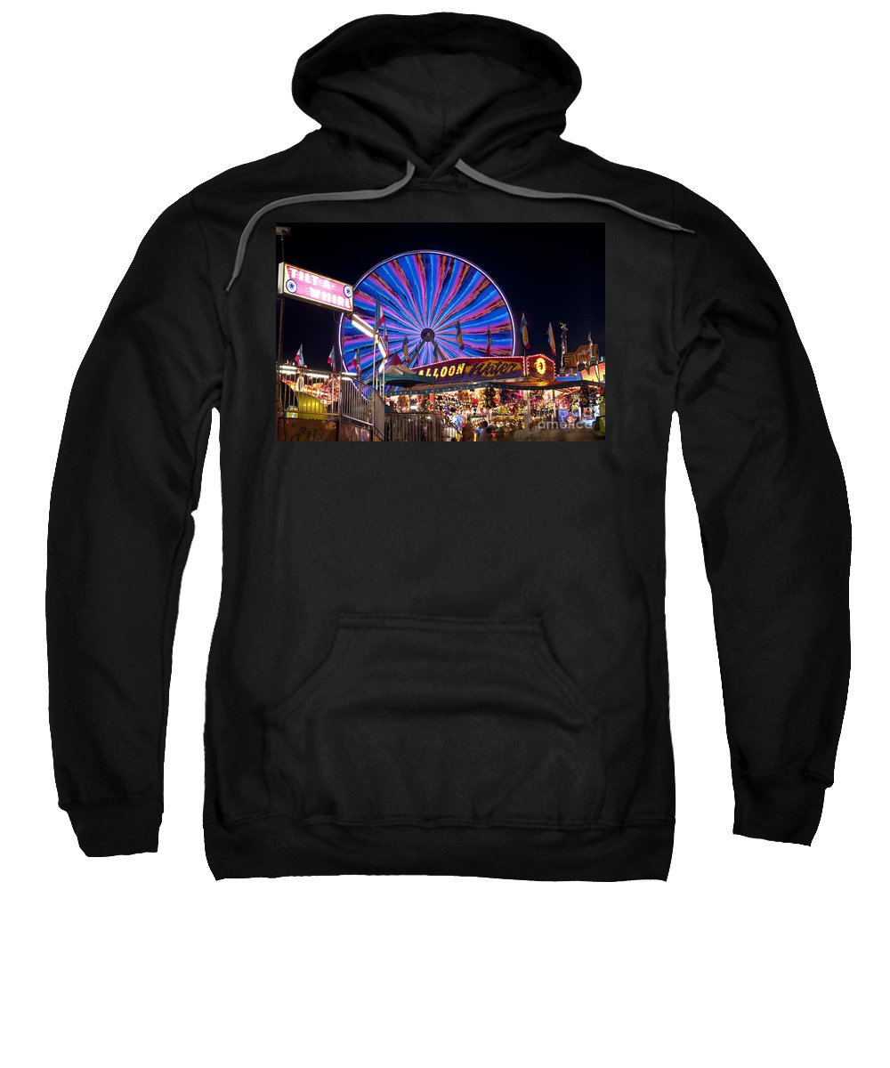 Americana Sweatshirt featuring the photograph Ferris Wheel Rides And Games by Jim Corwin