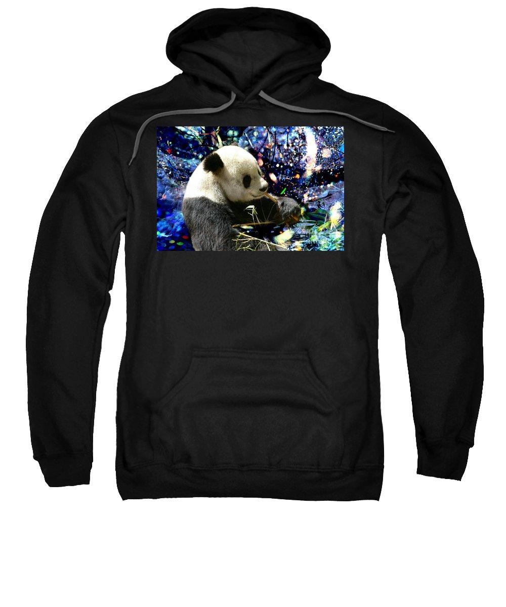 Festive Panda Sweatshirt featuring the photograph Festive Panda by Mariola Bitner