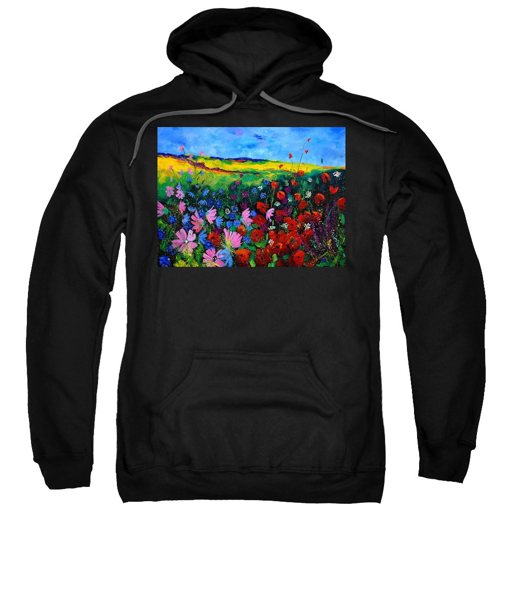 Poppies Sweatshirt featuring the painting Field Flowers by Pol Ledent