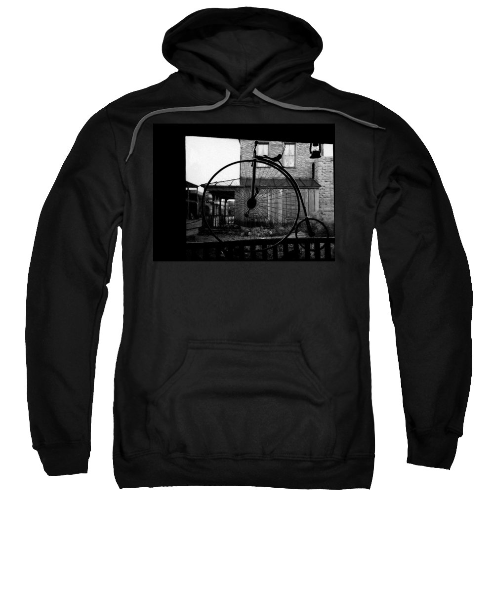 Film Homage Buster Keaton Our Hospitality 1923 Unicycle Old Tucson Arizona 1967-2008 Black And White Sweatshirt featuring the photograph Film Homage Buster Keaton Our Hospitality 1923 Unicycle Old Tucson Arizona 1967-2008 by David Lee Guss
