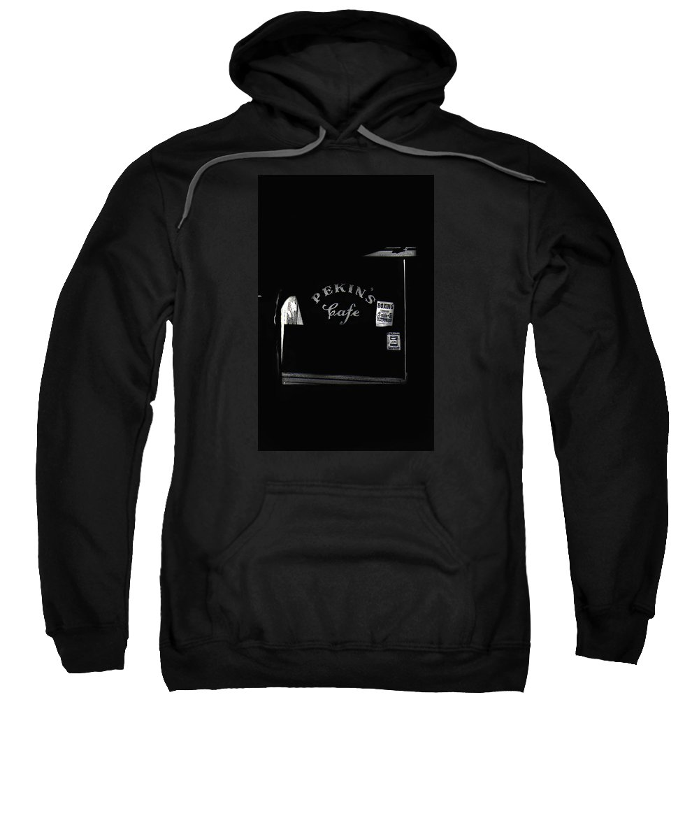 Film Noir Out Of The Past Robert Mitchum Jane Greer 1947 Pekin's Cafe Leveled Shortly After Part Of Urban Renewal Tucson Az 1967-2008 Sweatshirt featuring the photograph Film Noir Out Of The Past 1947 Pekin's Cafe Leveled Shortly Part Of Urban Renewal Tucson Az '67-'08 by David Lee Guss