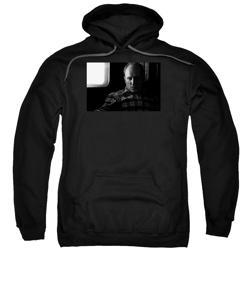 Film Noir Robert Duvall The Outfit 1973 Pursuit Of D.b. Cooper Set Trailer Tucson Arizona 1980-2008 Sweatshirt featuring the photograph Film Noir Robert Duvall The Outfit 1973 Pursuit Of D.b. Cooper Set Trailer Tucson Arizona 1980-2008 by David Lee Guss