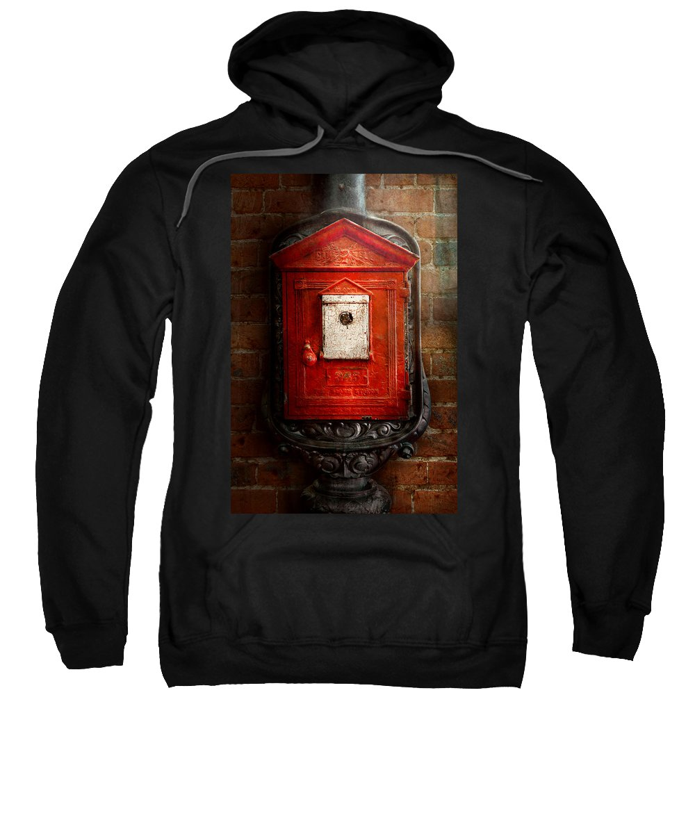Fireman Sweatshirt featuring the photograph Fireman - The Fire Box by Mike Savad