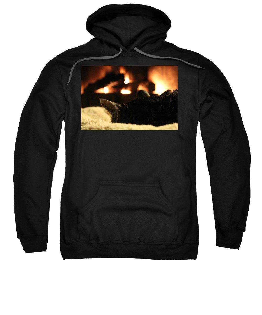 Fire Sweatshirt featuring the photograph Fireside Cat Nap by Nicholas Miller