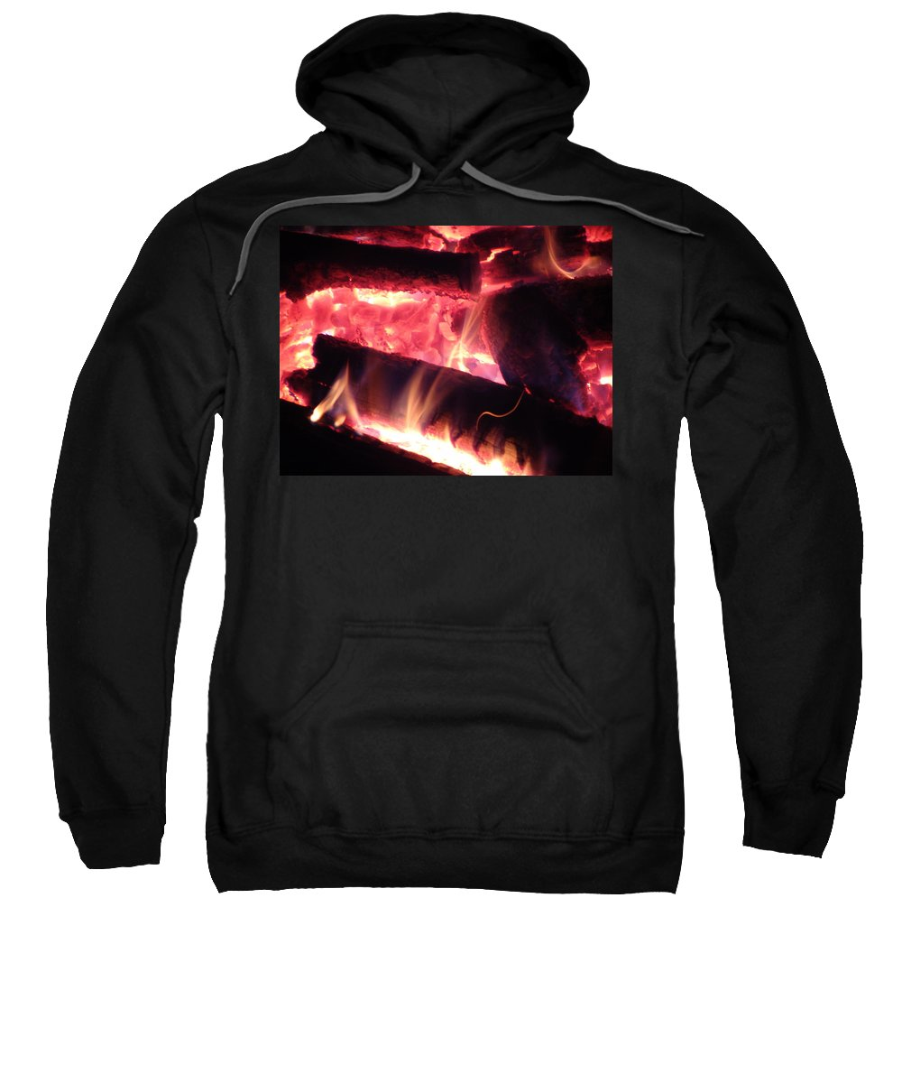 Fire Log Sweatshirt featuring the painting Fireside - Close-up by James Scott Preston