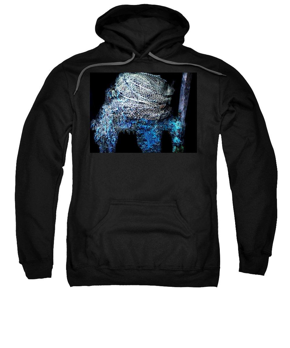 Colette Sweatshirt featuring the photograph Fish Net Santorini Island Greece by Colette V Hera Guggenheim