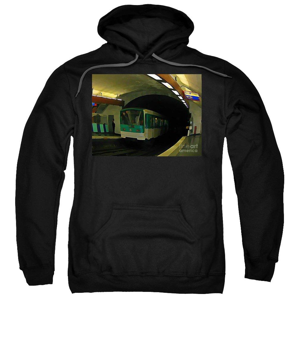 Subway Sweatshirt featuring the painting Fisheye View Of Paris Subway Train by John Malone