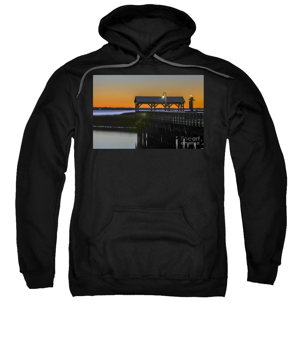 Dusk Sweatshirt featuring the photograph Fishing Pier At Dusk by Dale Powell